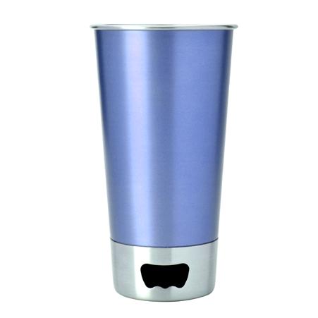 blue metalowa szklanka do piwa z otwieraczem