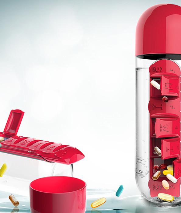 butelka z organizerem na leki